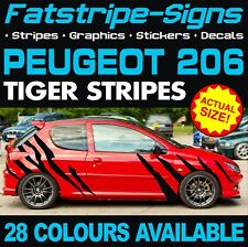 PEUGEOT 206 GRAPHICS TIGER STRIPES DECALS STICKERS GTI PUG 1.4 1.6 2.0 CC GTI D