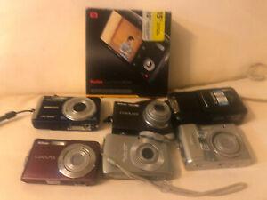 Point And Shoot Digital Camera Lot Of 7, Nikon Coolpix, Canon Powershot, Olympus