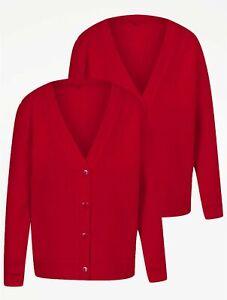 Girls Red School Cardigan 2 Pack