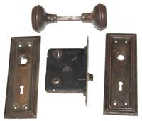 RARE Antique Mortise Lock & Latch Set, 2 Back Plates, Brass Door Knob & Spindle