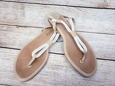 SIZE 10 SPERRY TOP-SIDER White - VERY CLEAN  Leather/Manmade Thong Sandals EUC