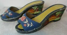 Vintage wood carved shoes colorful Asian size 5