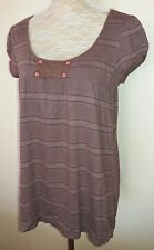Union Bay Ladies Size XL 16 18 Brown Stripe Tunic Top Plus Curve Fashion +
