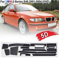 For BMW 3-Series E46 01-04 5D Glossy Carbon Fiber Sticker Interior Decal Trim