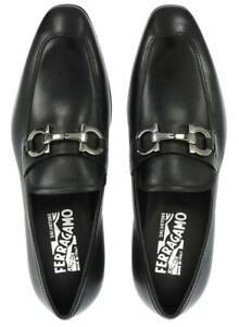 NEW SALVATORE FERRAGAMO GIANT BLACK LEATHER LOAFERS SHOES 7.5 EEE