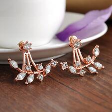 Fashion Girl Crystal Leaf Ear Jacket Earrings Gold Plated Back Cuff Stud Earring