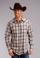 Stetson Plaid Mens Brown 100% Cotton Fall Dobby L/S Shirt