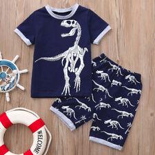 2PCS Summer Toddler Kids Baby Boys Blouse Shirt Print Tops+Shorts Outfits Sets