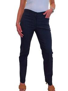 Ladies Girls Smart School Office Stretch Straight Leg Trousers Navy Blue 6-18