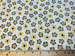 Vintage Cotton Feedsack Fabric 40s CUTE Retro Yellow Black Flowers EXC