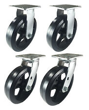 """8"""" x 2"""" Heavy Duty """"Rubber on Cast Iron"""" Caster - 2 Swivels  and 2 Rigids"""