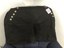 Lane Bryant Women's 22 Genius Fit Shorts 5 Button At Sides To Put On Black Nwt