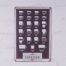 Types Of Espresso's Cup Coffee Metal Tin Signs Wall Decor Poster Plaque Cafe Art