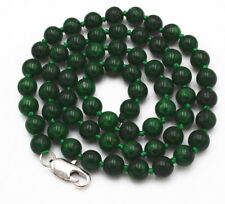 "24"" Charming! 6mm Myanmar Dry green Emerald Gemstone Beads Necklace JN1938"