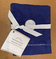 Pottery Barn Linen/Cotton Hemstitch Tissue Box Cover - Blue - New