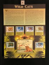 World Of Stamps Wild Cats Romania Series Collection (Tiger Bobcat Lion 7 Stamps)