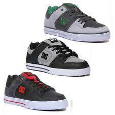 DC Shoes Pure SE Men Leather Canvas Skate Trainer In Heather Grey Size UK 6 - 12