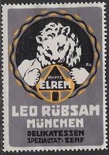 German Cinderella: 1920 ELREM Leo Rübsam Munich Deli Specialty: Mustard- cw47.27