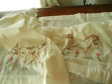 Vintage c1950 Ranch Cotton Embroidery Curtain Panels Pair Cow Calf Horse Foal A+