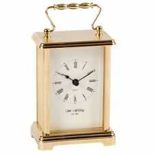 Wm.Widdop Golde Effect Carriage Clock with White dial