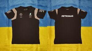 "● PETRONAS MERCEDES AMG FORMULA 1 BLACK SHIRT SIZE KIDS HEIGHT 128 CM (50,4"") ●"