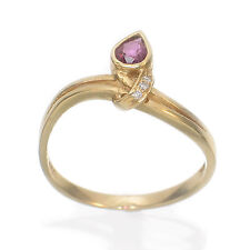 18k Solid Yellow Gold Genuine Pear Ruby & Diamonds Cocktail Ring TPJ