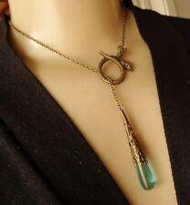Vintage Long Lariat Necklace Coiled Snake Pendant W/ Blue Czech Glass Drop