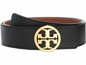 """TORY BURCH NWT 1.5"""" Reversible Logo Belt Black/New Cuoio Gold size Small"""