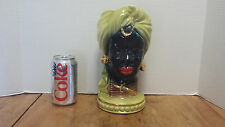 Vintage Headvase African Black Americana Green & Gold Turban Head Vase 40's-50's