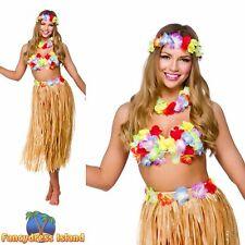 Hawaii Party Girl Skirt Bra Lei Cuff Womens Fancy Dress Costume Accessory
