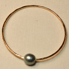 Gold Vermeil 11.5mmx12mm Peacock Tahitian Pearl 12 Gauge Bangle SIZE 7