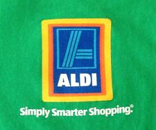 ALDI GROCERY STORE WORK UNIFORM SHIRT Green Long Sleeve Cotton Adult Small