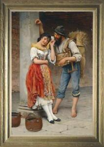"""Hand painted Old Master-Art Antique Oil Painting farm couple  on canvas 24""""x36"""""""