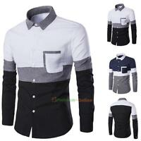 Luxury Fashion Mens Slim Fit Shirt Long Sleeve Dress Shirts Casual T Shirt Tops