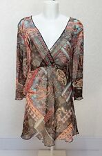 NEW LOOK sheer chiffon Brown orange Paisley V neck empire long top blouse 22