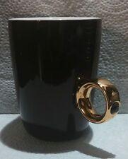 Fred & Friends Porcelain Mug w/ Gold Glaze 2 Carat Swarovski Crystal Ring Handle