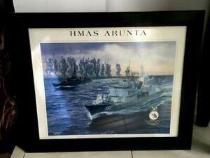 HMAS ARUNTA COMMEMORATIVE ART 12TH DEC 1998 PORT MELBOURNE VIC RARE PRINT