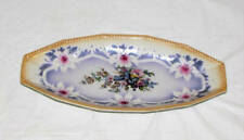 VINTAGE HAND PAINTED FLORAL DESIGN OVAL SERVING CELERY DISH GERMANY