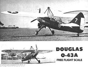 """Model Airplane Plans (FF or RC): Douglas O-43A  Scale 46"""" Parasol Monoplane"""