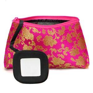 SILK MAKEUP BAG w MIRROR Soft Travel Case Purse Brocade Fabric CHOICE OF COLORS
