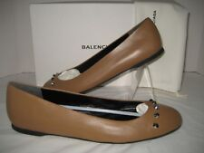 NEW Balenciaga Ballerina US 9.5 Silver Studs Brown Leather Ballet Flat Shoes BOX