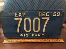 1959 Blue Wisconsin Farm License Plate Tag Little Rust
