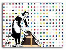"BANKSY MAID SWEEPING *FRAMED* CANVAS ART 18x12"" Graffiti Art -"