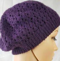 Womens Fashion Hat Beret Purple Beanie Knit Stretch Boho Hippie Cap 100% Acrylic