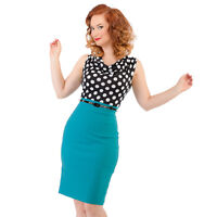 Wiggle Dress size 14 10 Pencil 60s Retro look Teal Turquoise Polka Dot Contrast