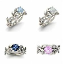 Noble Women 925 Silver Floral Ring Transparent Aquamarine Wedding Jewelry Sz6-11