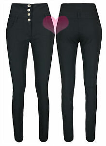 Womens High Waisted Black Trousers Good Quality School Work Stretch Skinny Pants