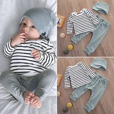 3pcs Newborn Baby Boy Girl Cotton Romper Bodysuit Tops+Pants Outfits Clothes Set