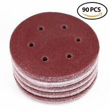 90pcs 6inch 6-Hole 80 Grit Hook Loop Sanding Disc Random Orbit Sander Sandpaper