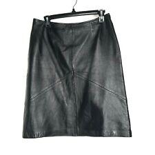 Vakko Sport Womans Black Leather Skirt Size 10